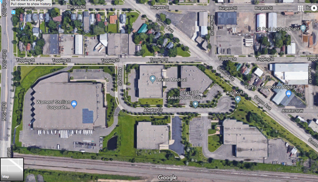 The Great Northern Business Center (former St. Paul Foundry) area today. Courtesy Google Maps.