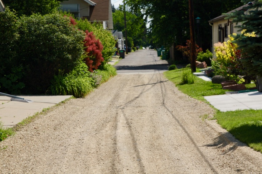 The unmistakable change in the road surface where Portland meets Griggs.