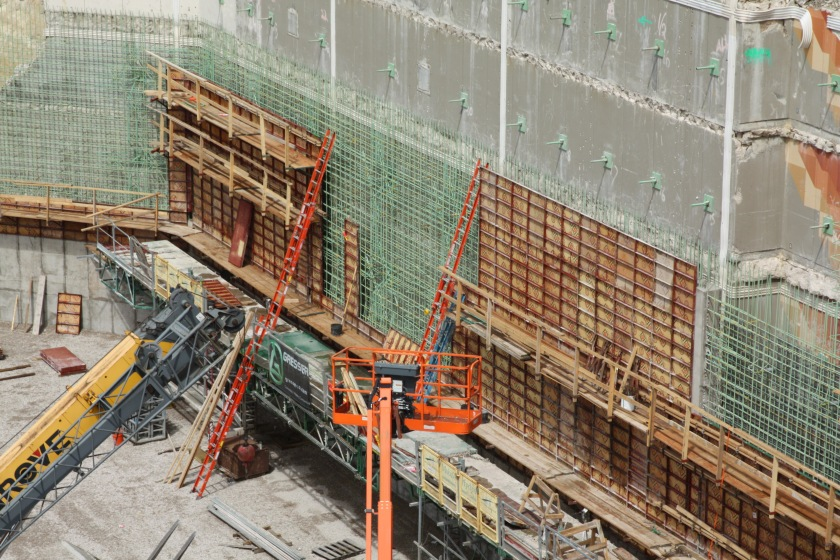 A closer look at the retaining wall reveals the complexities of the project.