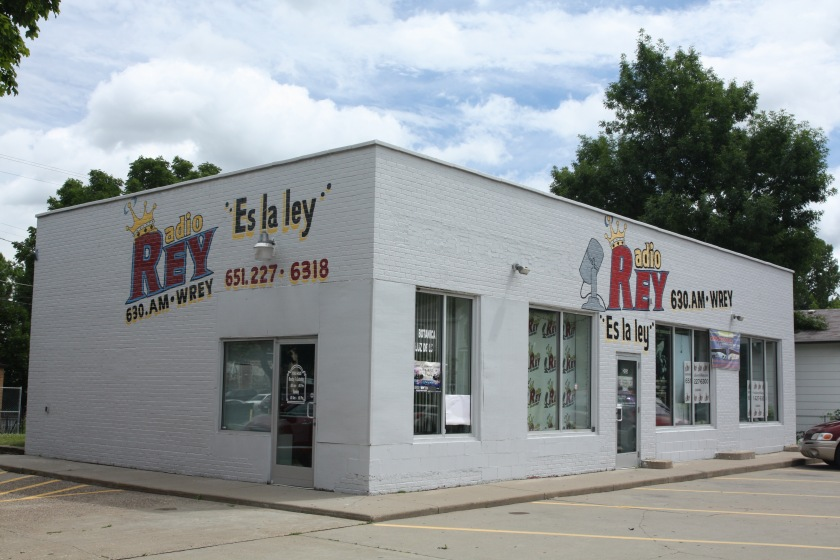 WREY Radio Rey (The King), a Spanish language radio station that most in the Twin Cities have never heard, is on Cesar Chavez Street in a former gas station.