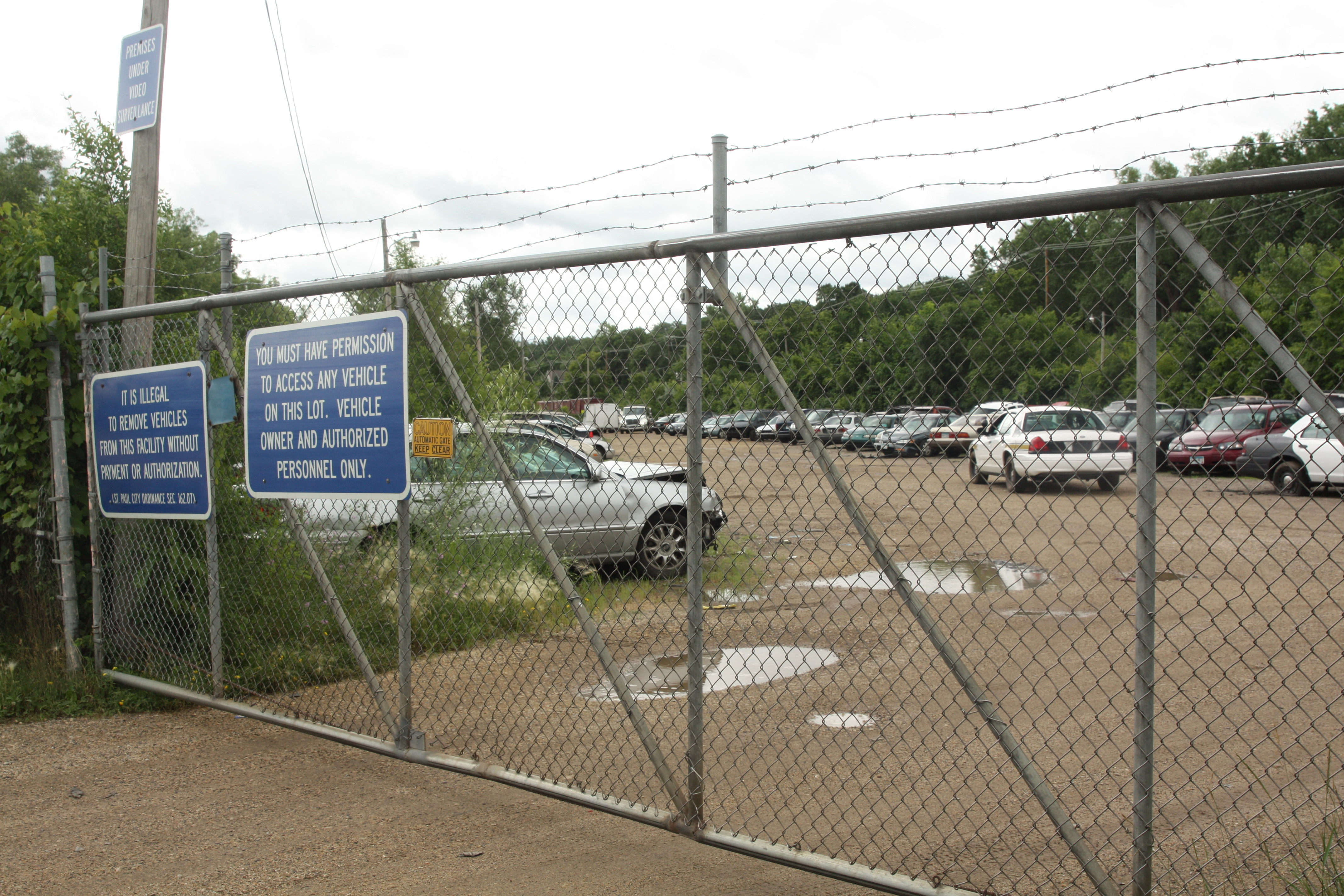 The view of the impound lot through the main gate.