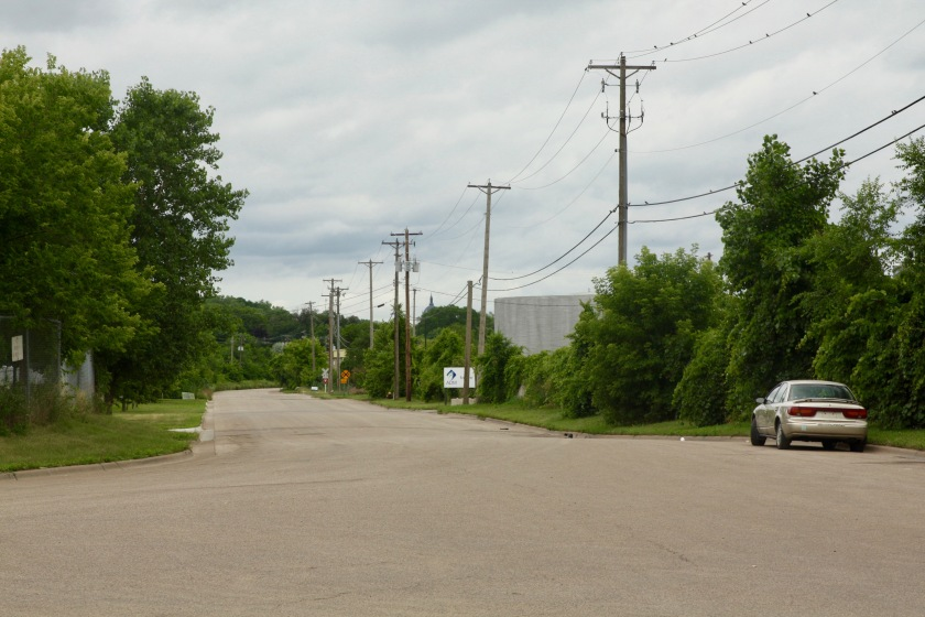Looking northwest at Barge Channel Road from the cul-de-sac at the eastern end of the road.