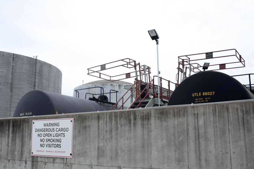 Chemical storage tanks are clustered on the east side of Hawkins Terminal 2.