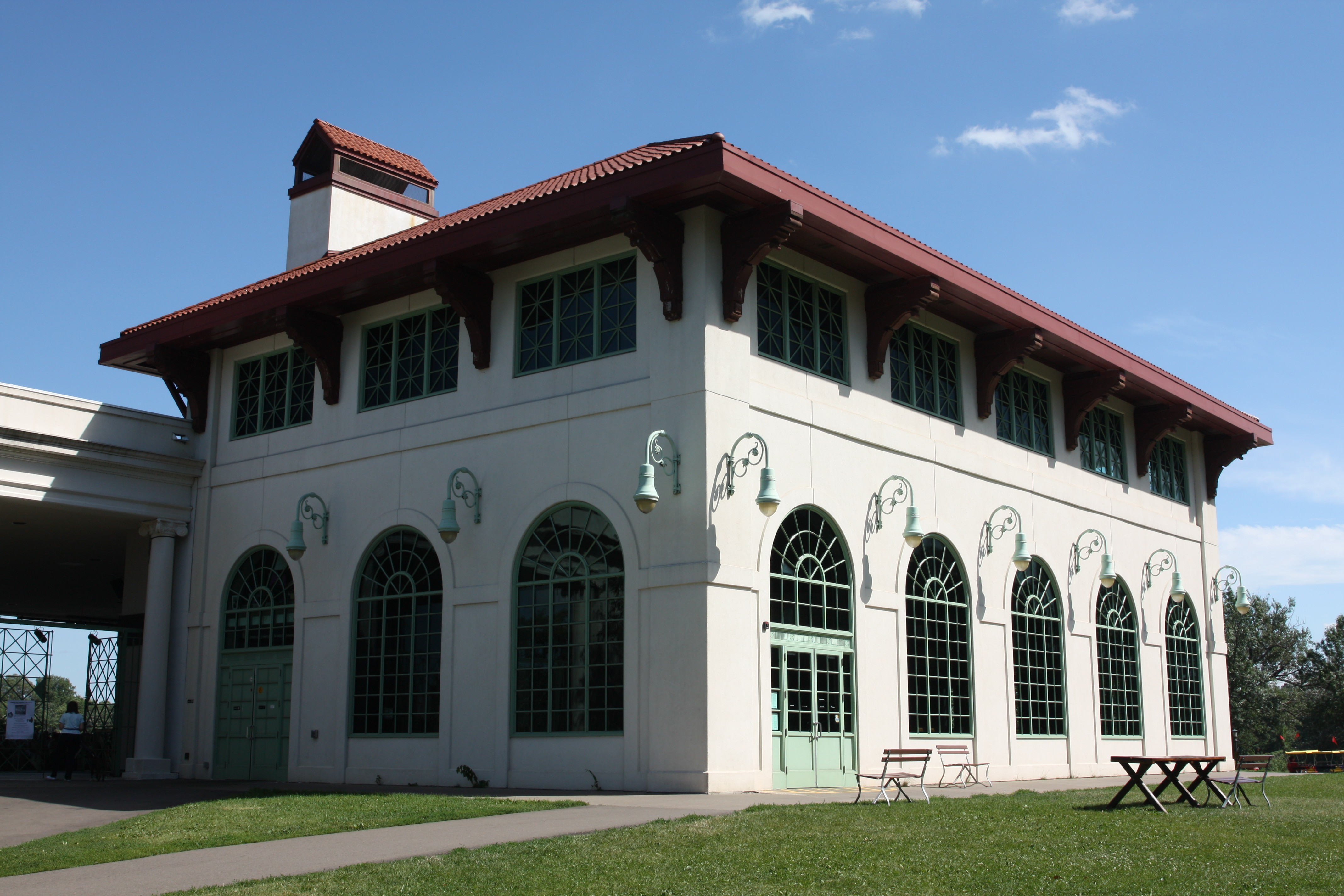 The Spring Cafe occupies the main floor of the Pavilion, and the second floor can be rented for weddings and other events.