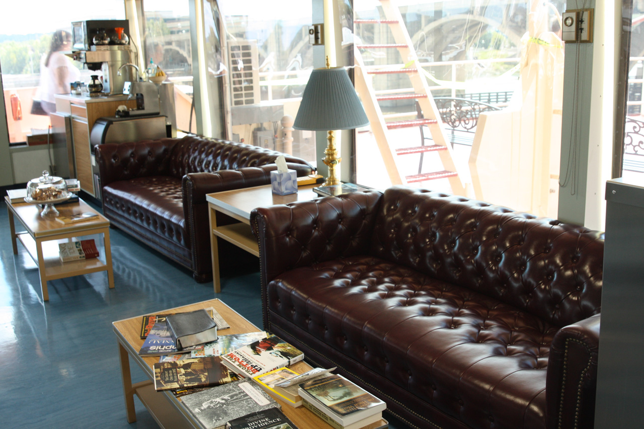 The two leather couches in the pilot house.