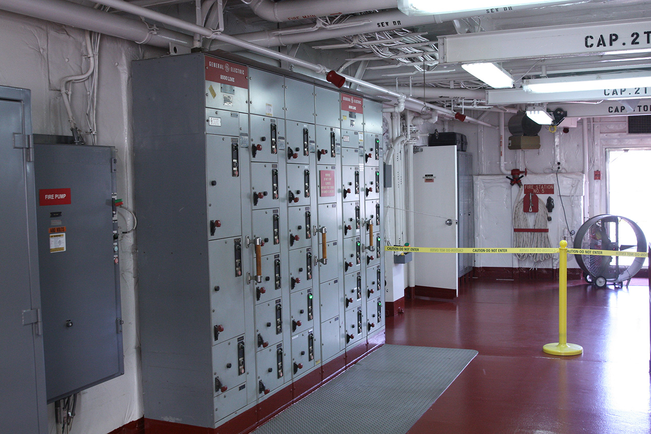 Large circuit breakers and power controls for the many electrical systems aboard.