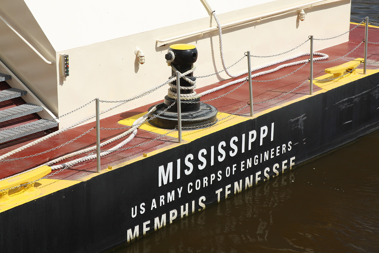 The stern prominently identifies the M/V Mississippi.