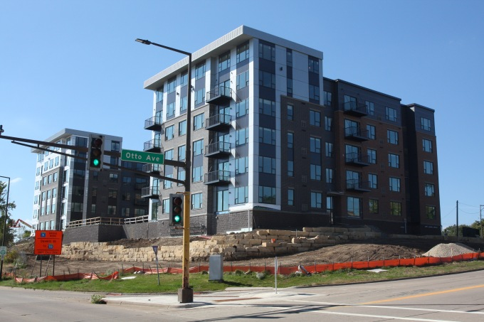 The V2 Apartments under construction at Otto Avenue and Shepard Road.