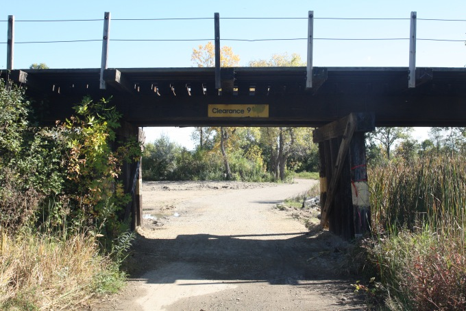 The railroad bridge over one of the paths through park.