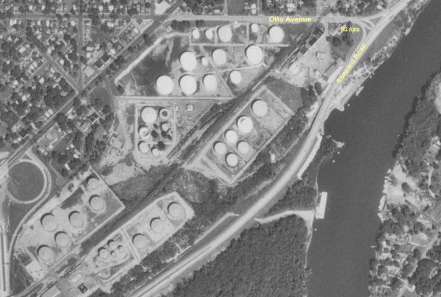 In 1970, the tank farms dominated the future Victoria Park neighborhood. Courtesy Minnesota Historical Aerial Photographs Online from the John R. Borchert Map Library