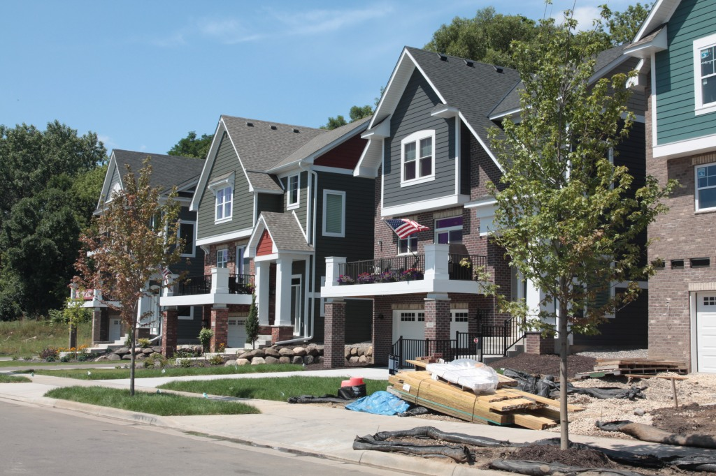 Looking south at the Pleasant Ridge Townhomes in varied states of completion.