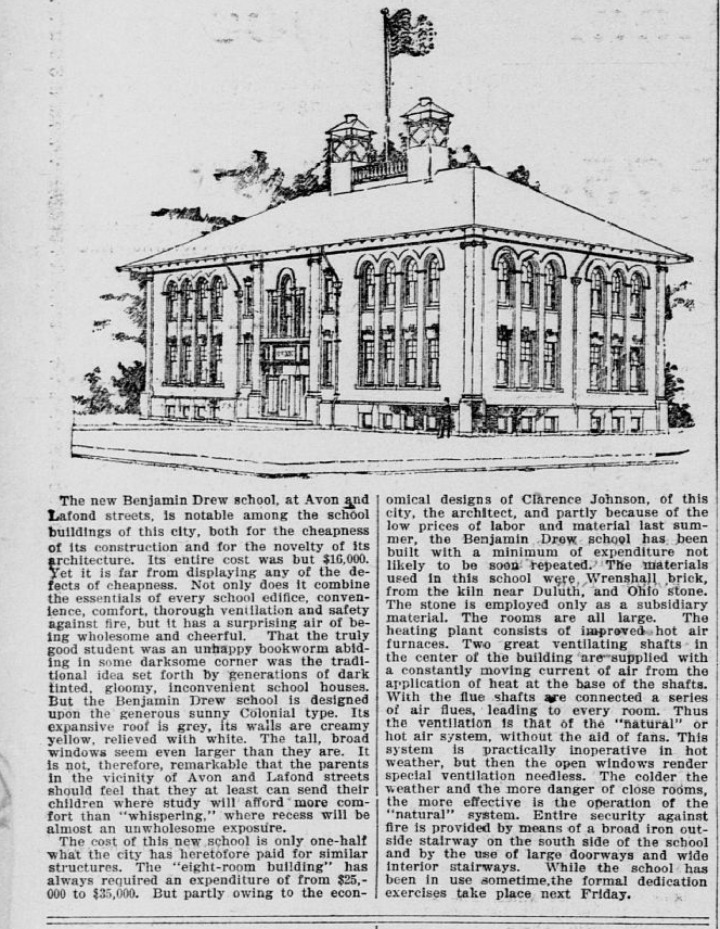Features of the new Benjamin Drew School were proudly trumpeted in the February 16, 1896 St. Paul Globe newspaper.