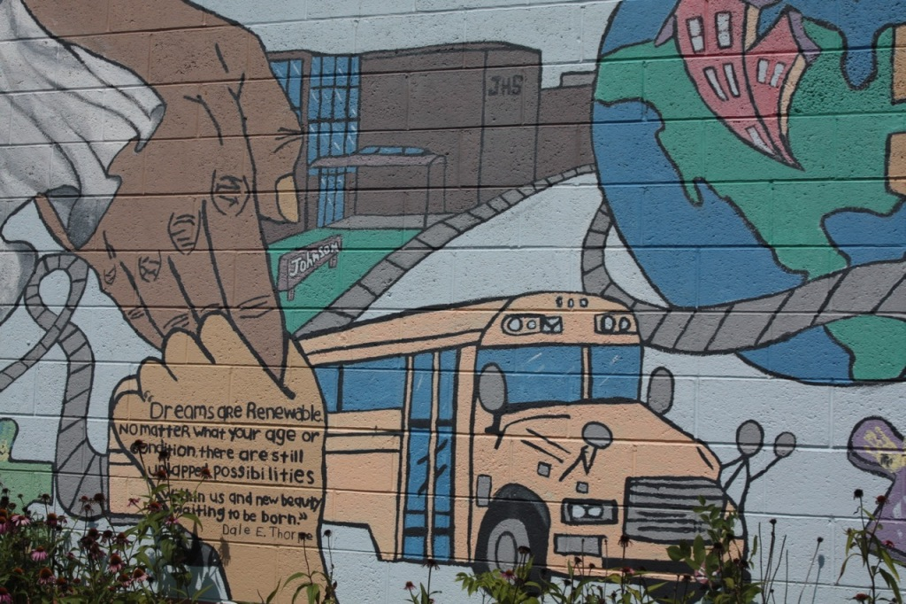 A close look at one part of the mural on Payne Ivy Grocery.