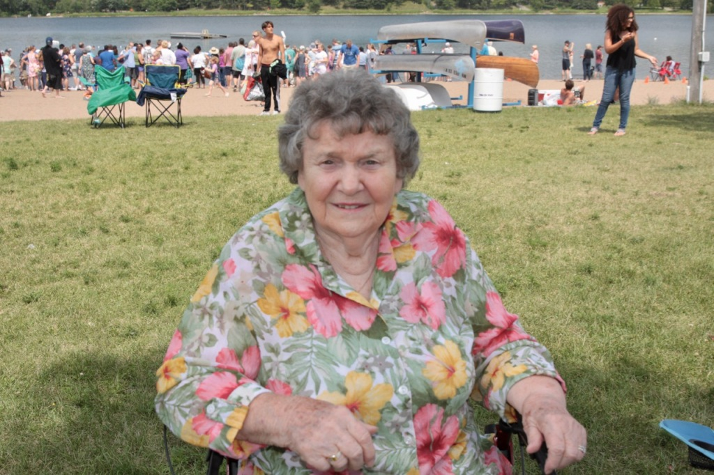 Dorothy Gaul relaxed on the grass near Lake Phalen.