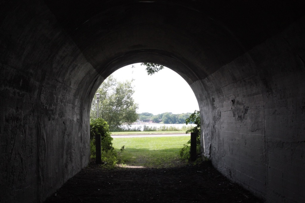 Now in the tunnel and looking east, at Lake Phalen. The beach is far off in the distance.