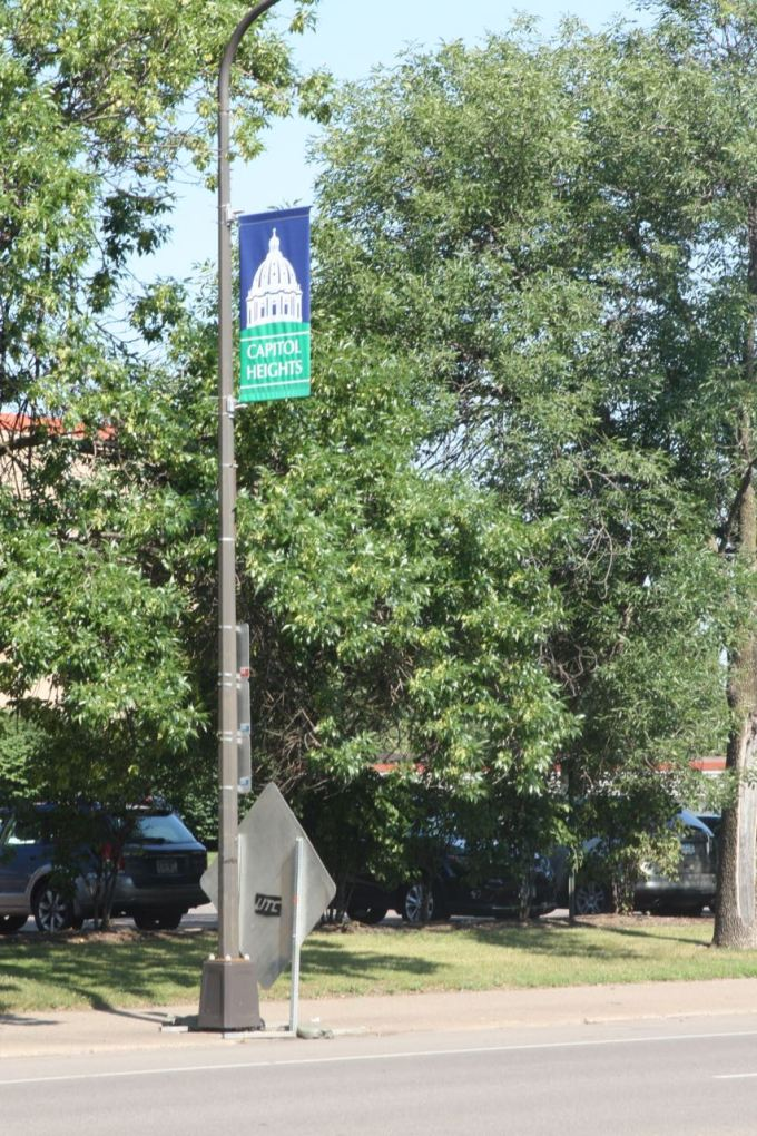 A Capitol Heights banner on a Rice Street light post.
