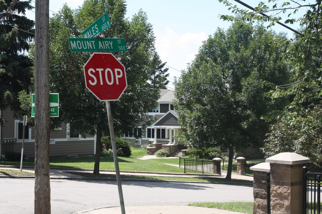 Wales Street moves northward from Mount Airy Street for a short block, where it makes a 90 degree turn to the right and becomes Arch Street.