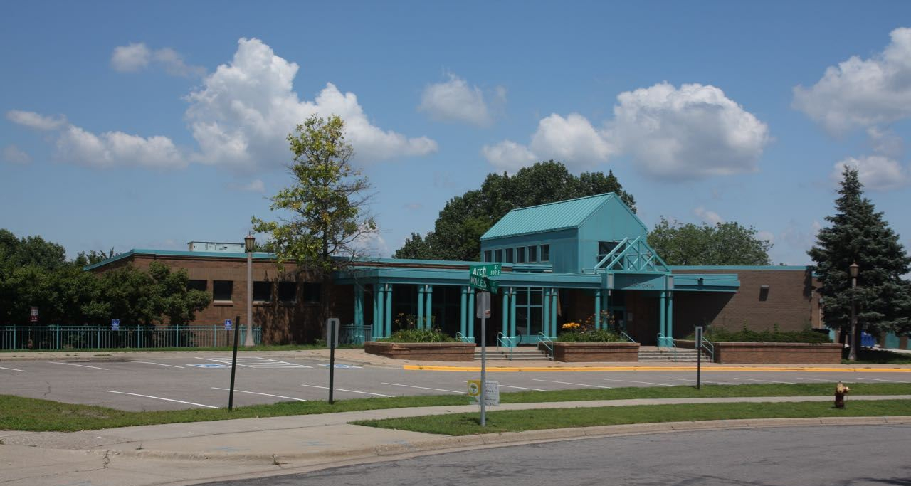 The Mount Airy Community Center sits along the curve where in the road where Wales Street becomes Arch Street.