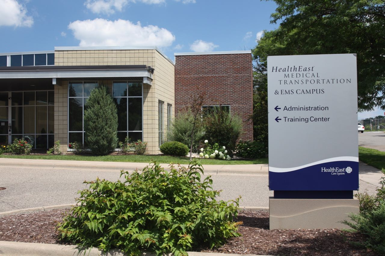 The public entrance to HealthEast's medical transportation building at 799 Reaney.