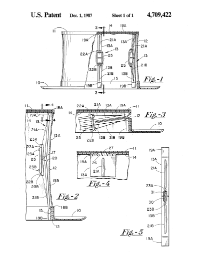 """Mr. Peham got more creative as he aged. The snap action hinged support for top hats is by far his best invention. The plastic snap action support would allow a top hat to be collapsed and re-extended many times. According to the patent application from 1987, the snap action support would allow top hats to be used """"as a novelty item or for formal wear."""""""