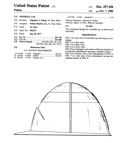 Peham received a patent for this hat in October 1980 and it's a surprise that we don't see these every Saturday and Sunday during football season.