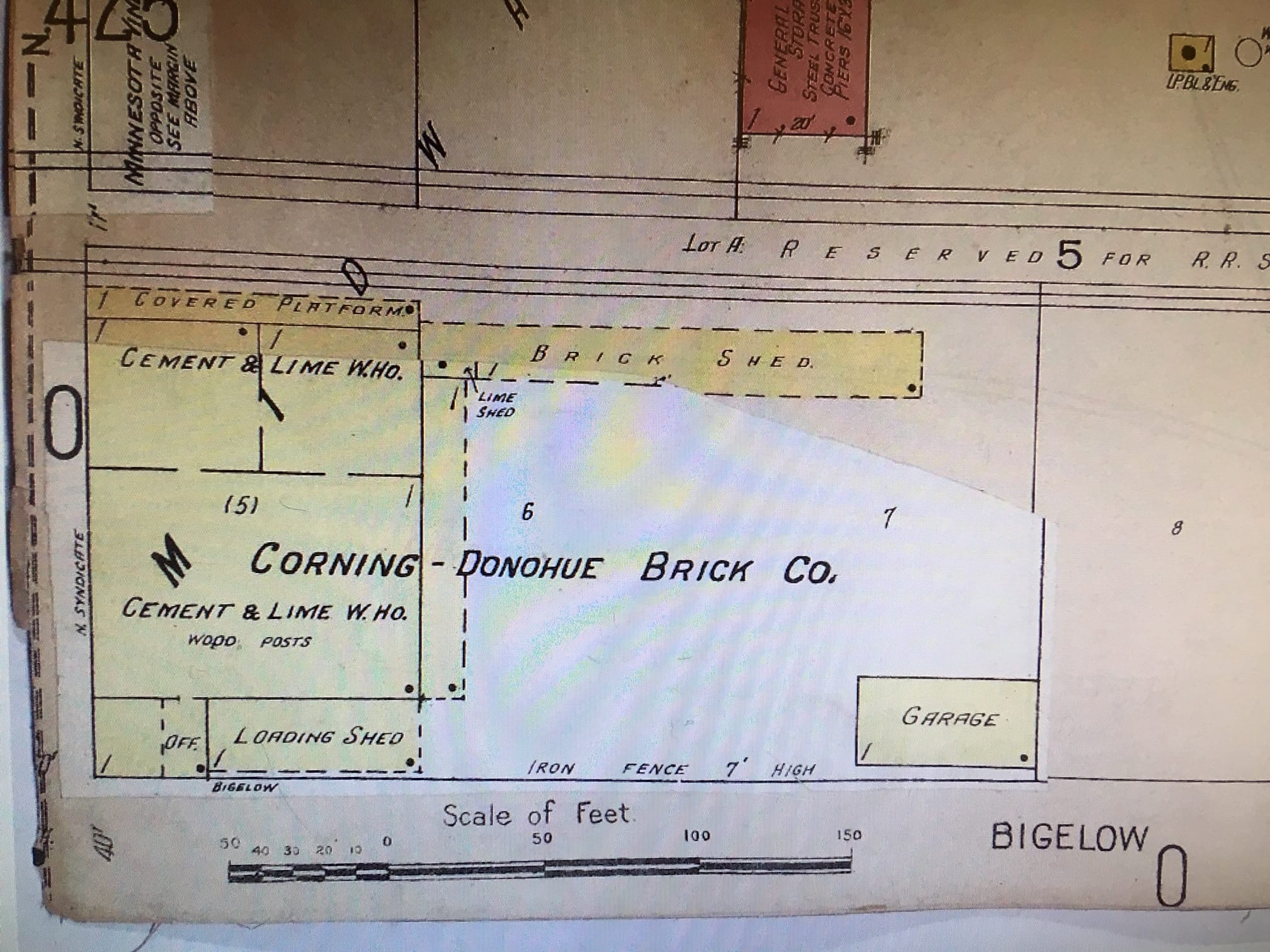 The Corning-Donohue Brick Company in the 1922 plat book. Corning-Donohue expanded north toward Bohn years later.
