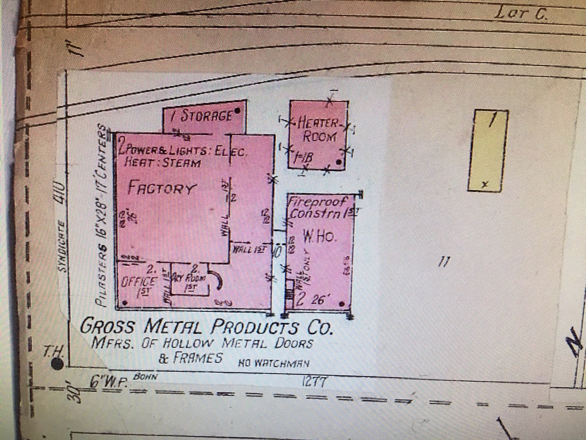 The plat map from 1922 showing Gross Metal Products at the corner of Syndicate Avenue and Bohn Street.