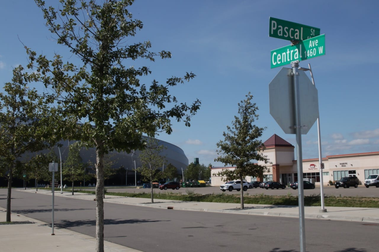 Central Avenue, looking northeast. Allianz Stadium is to the left and Midway Center to the right.