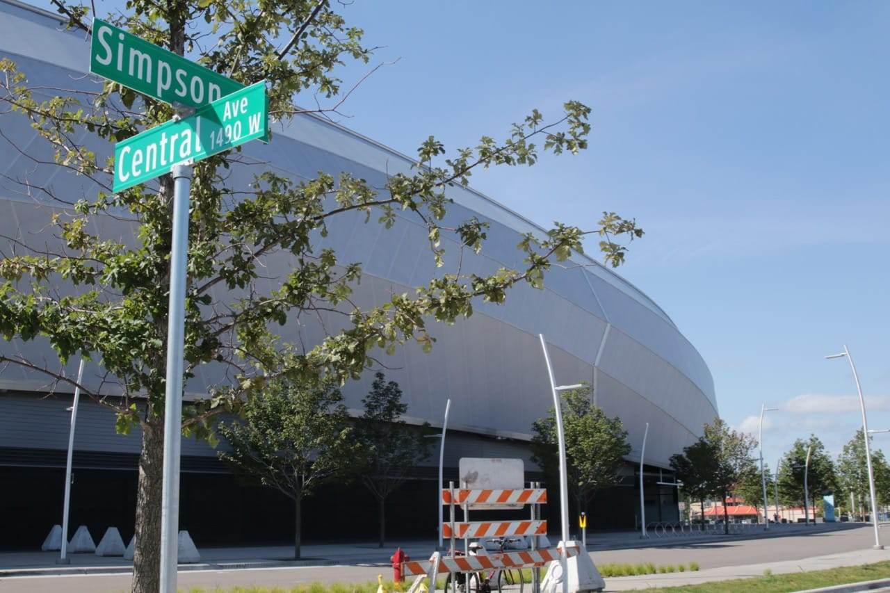 Central ends at Simpson Street, which was extended to University Avenue on the north and St. Anthony to the south, as part of the stadium project.