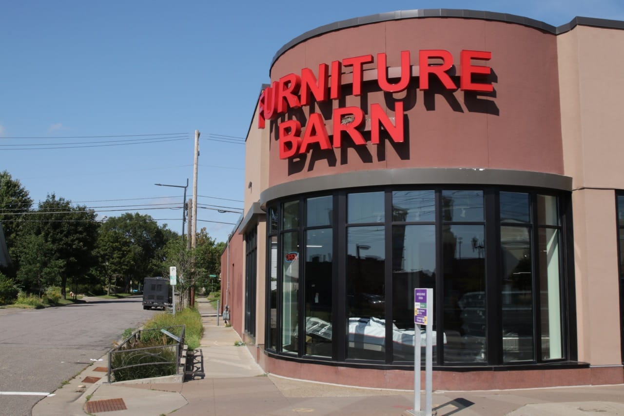 This corner of Furniture Barn at 1389 University Avenue West still resembles the car showroom that it was.
