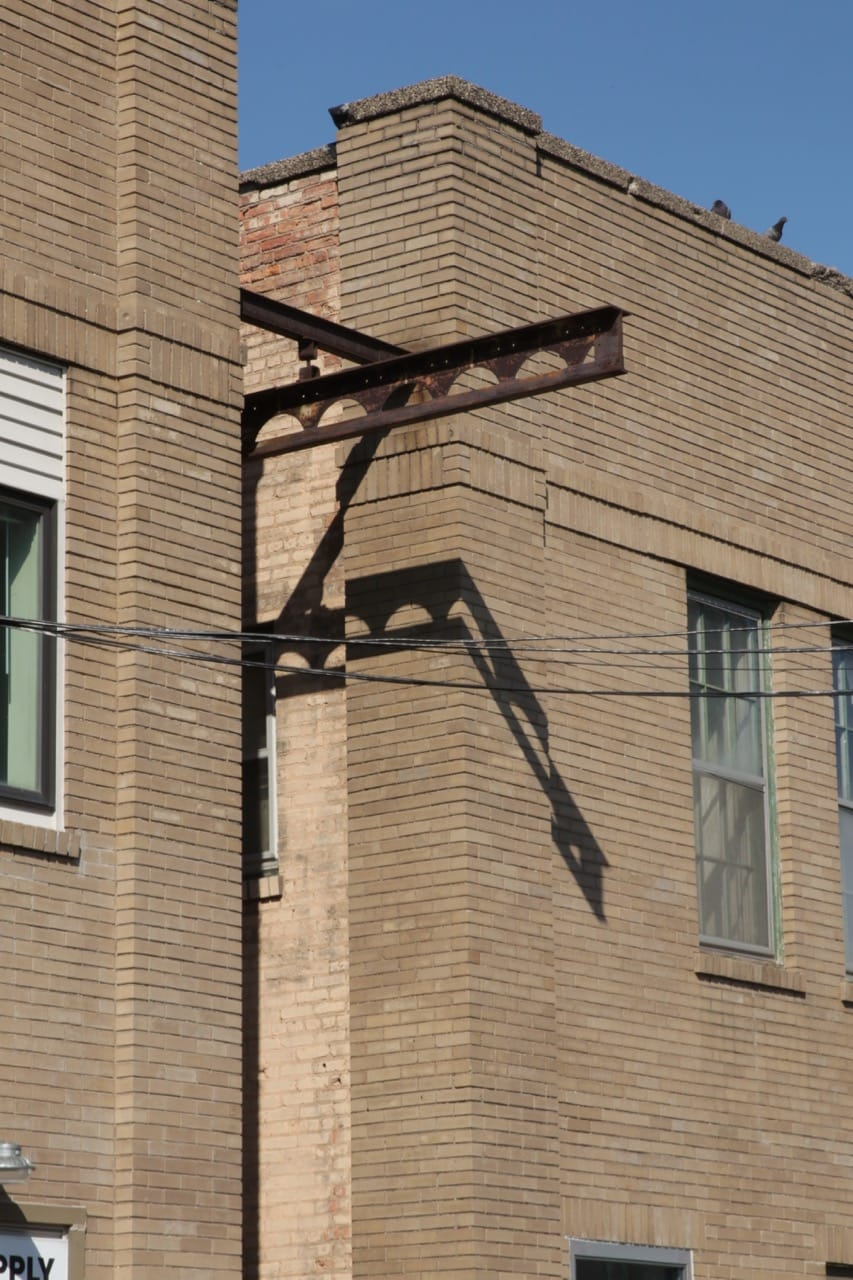 The metal beams may date back to the days of Gross Metal Products Company. Perhaps it was part of the system used to move steel in and out of the plant.