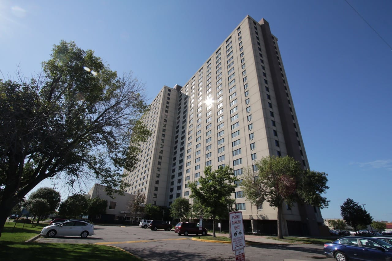 Skyline Tower, the largest low income hi-rise in Minnesota, is on St. Anthony Avenue between Griggs and Syndicate Streets.