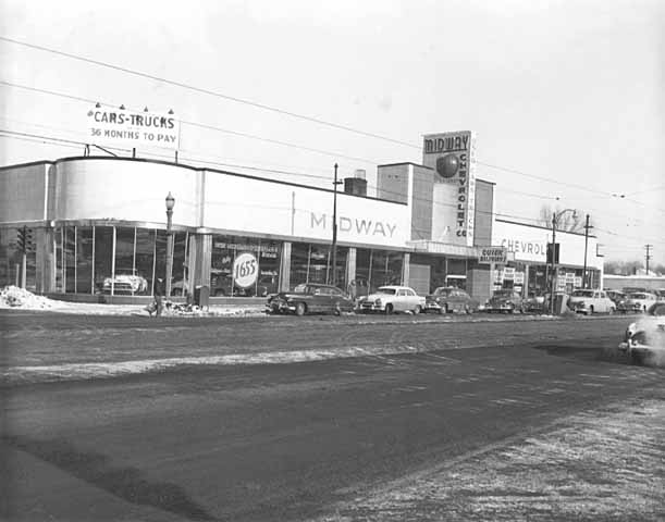 The 1952 Midway Chevy building. Courtesy Minnesota Historical Society