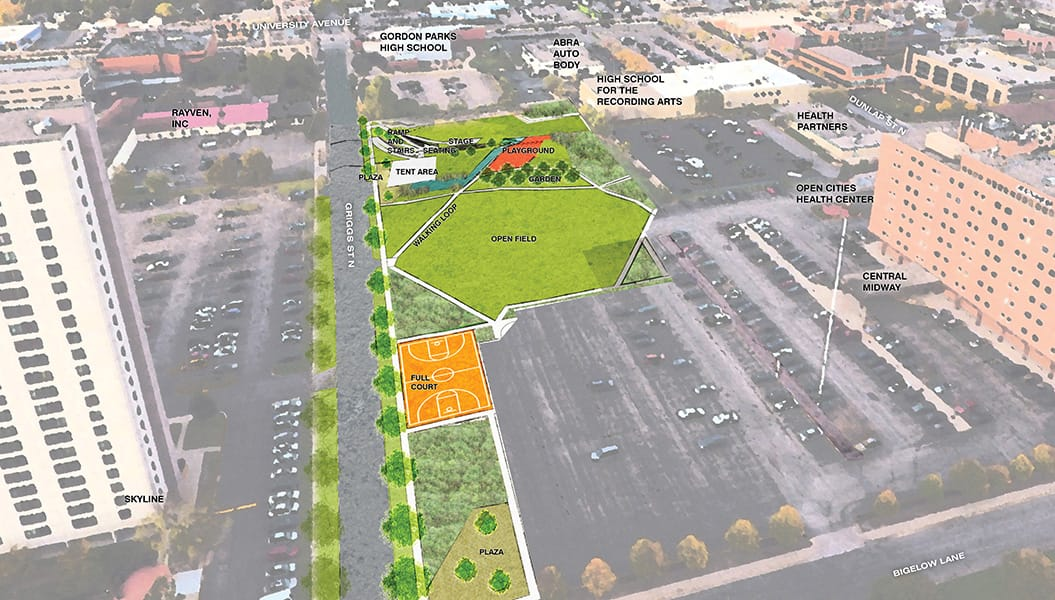 A bird's-eye view of the Midway Peace Park design looking the north. Courtesy City of Saint Paul/Trust for Public Land