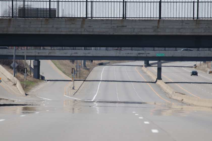 Looking west at the Snelling Avenue ramp to 94 east. The Hamline Avenue overpass is at the top of the photo and Just below is the Pascal Street bridge. The distortion on the lower left of the photo is a heat mirage.