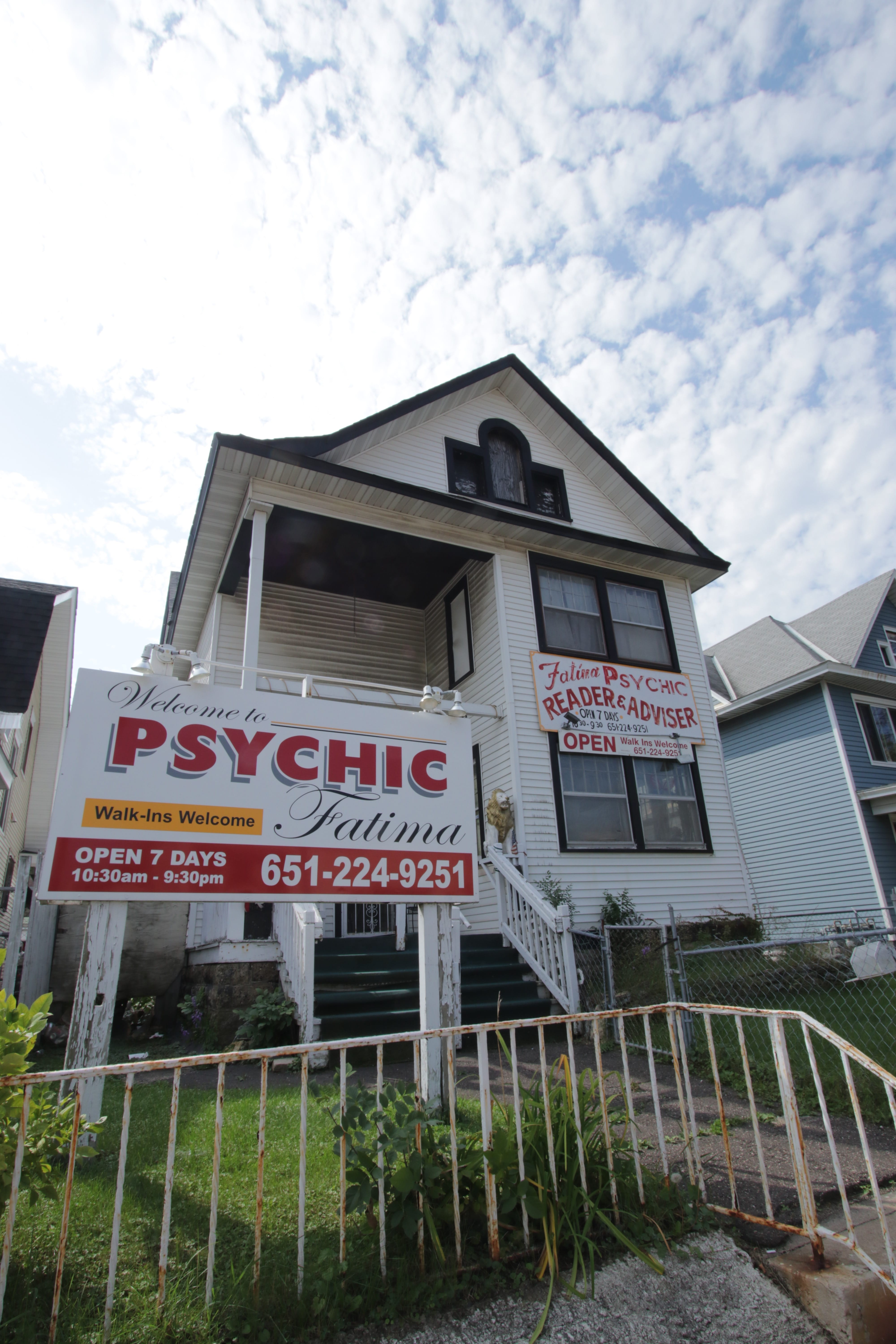 Fatima advertises prominently for her psychic services at 822 University.