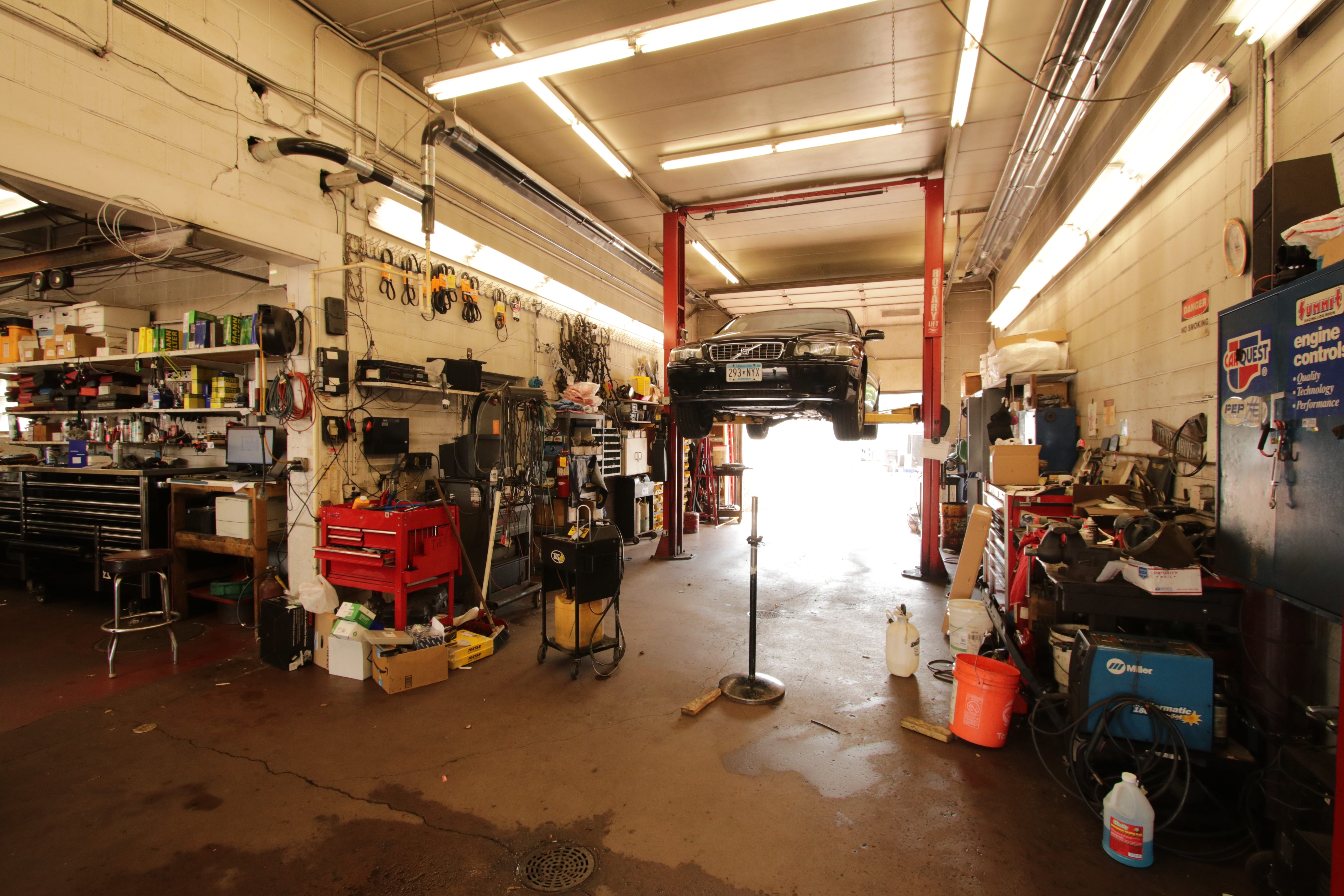 One of two repair stalls at Glasgow Automotive. Both were added after Mike purchased the company from his father is 1976.