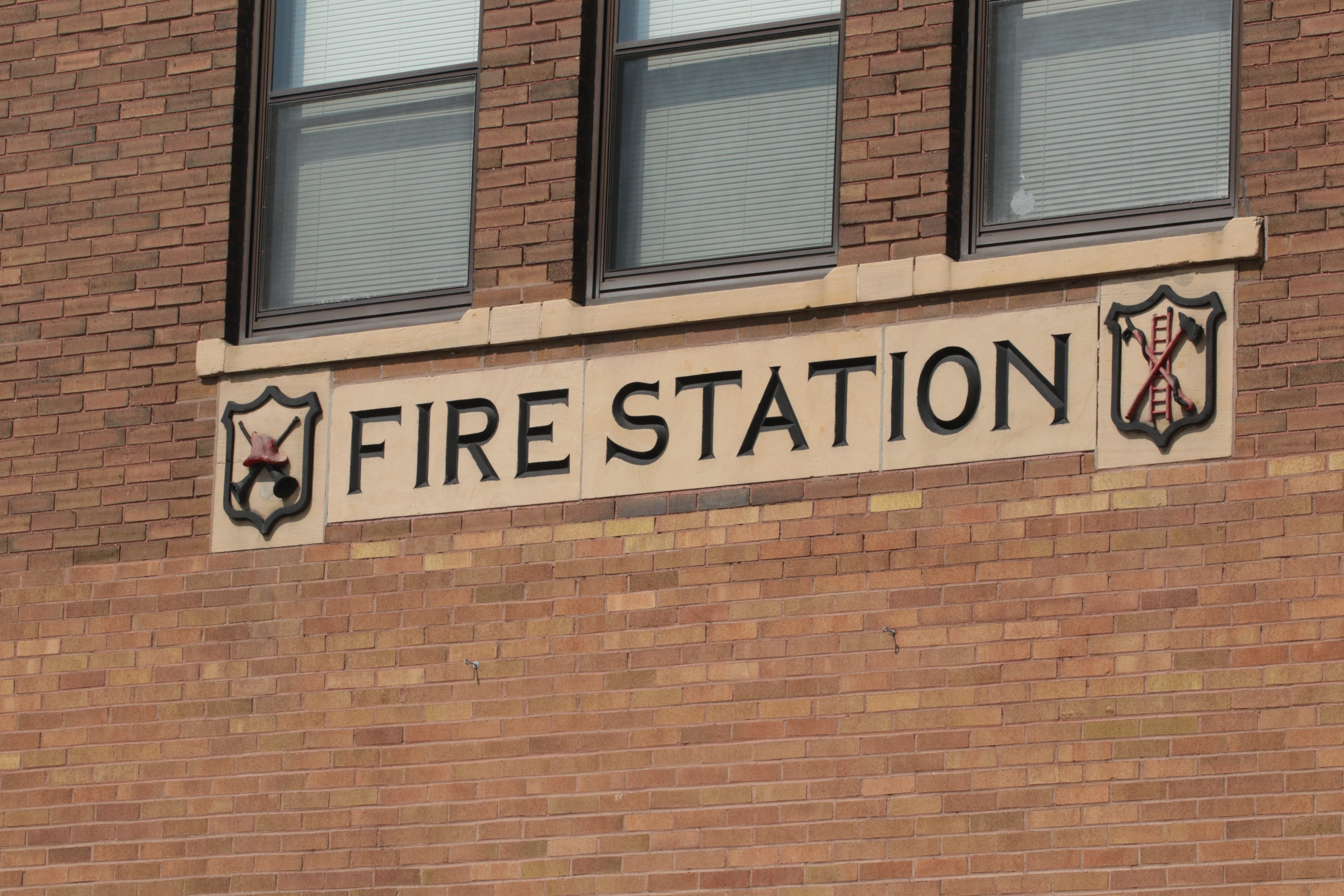 The relief above the main doors of Station 18 is in pristine condition.