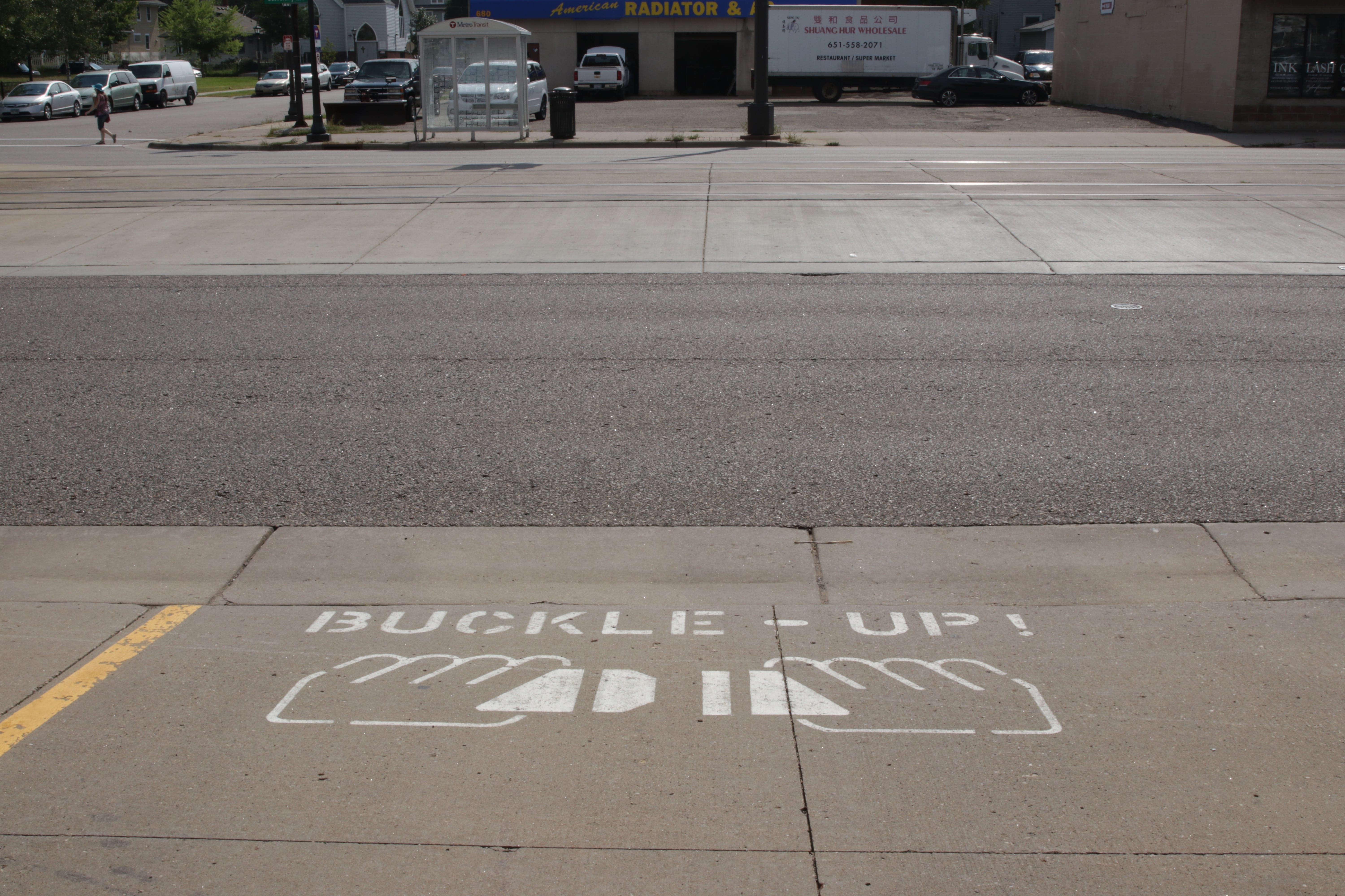 A simple and important reminder painted upon the driveway of Station 18.