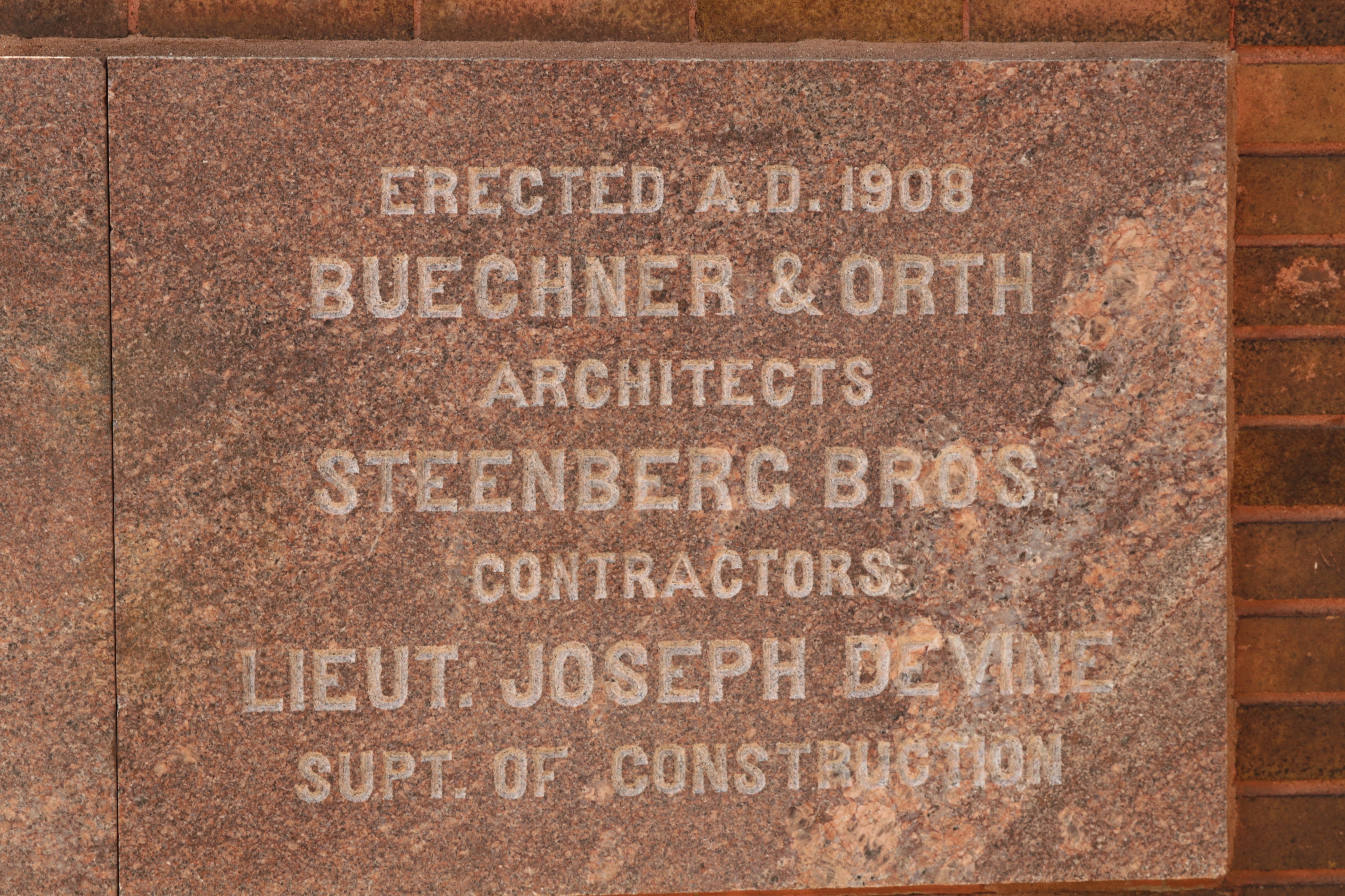 The designs of Station 18 and two other fire stations are attributed to the architectural firm of Buechner & Orth. The architects drew plans for multiple homes around Saint Paul, and was most noted for designing courthouses and theaters in the upper Midwest.